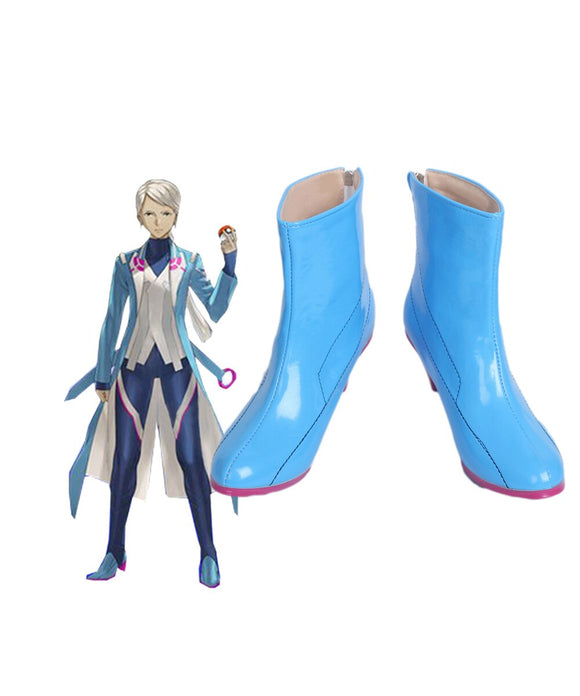 Pokemon Go Blanche Team Mystic Team Leader Cosplay Boots Blue Shoes Custom Made
