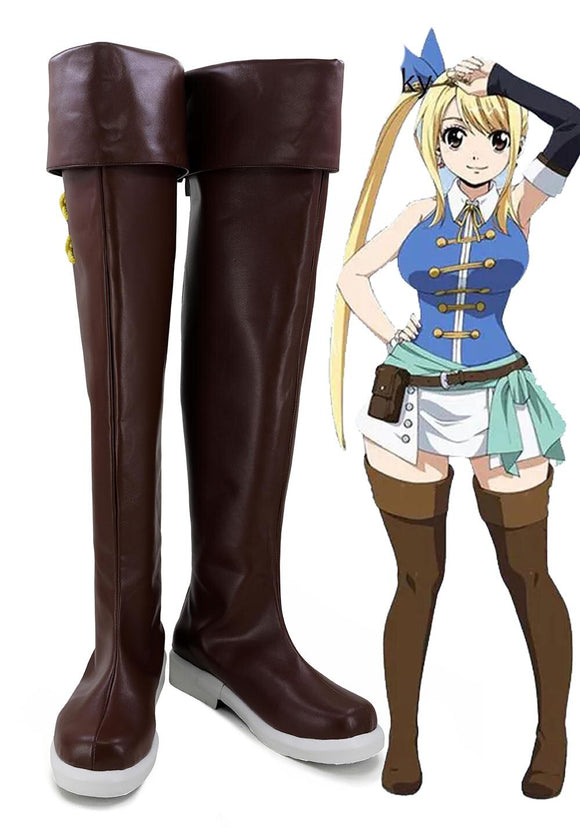 Fairy Tail Lucy Cosplay Long Boots Brown Shoes Custom Made Any Size