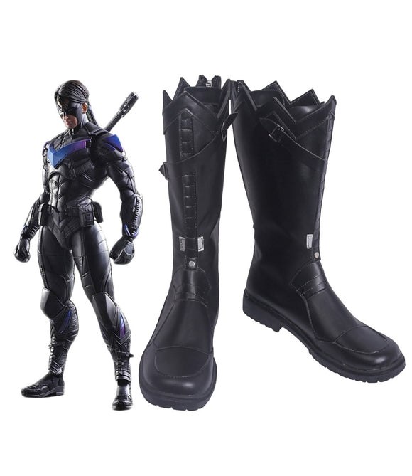 Nightwing Arkham Knight Cosplay Boots Black Shoes Custom Made
