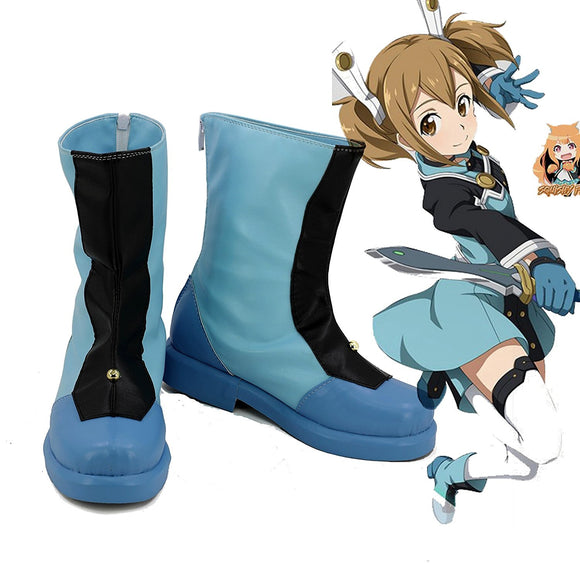 Sword Art Online Ordinal Scale Silica Cosplay Boots Blue Shoes Custom Made Any Size