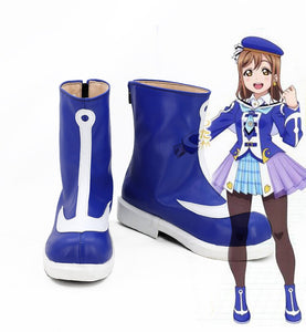 Love Live Sunshine OP2 Takami Chika Cosplay Boots Blue Shoes Custom Made