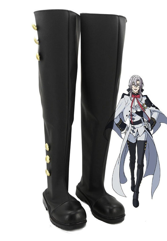 Seraph of the End Mikaela Hyakuya Ferid Bathory Cosplay Boots Black Shoes Custom Made