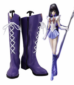 Sailor Moon Sailor Saturn Cosplay Boots Purple Shoes Costume Made Any Size