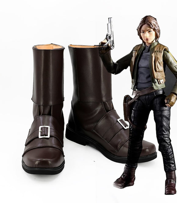 Star Wars: Rogue One Jyn Erso Cosplay Boots Leather Shoes Custom Made Any Size