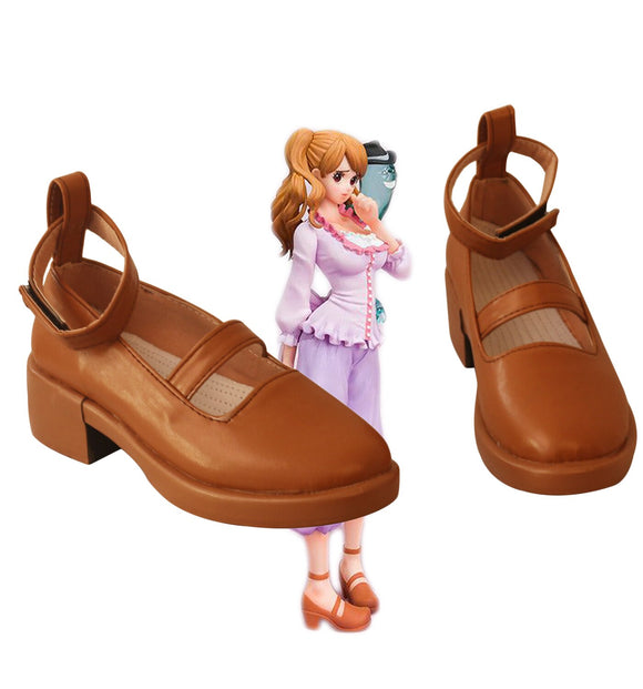 One Piece Charlotte Cosplay Boots Brown Shoes Custom Made Any Size for Unisex