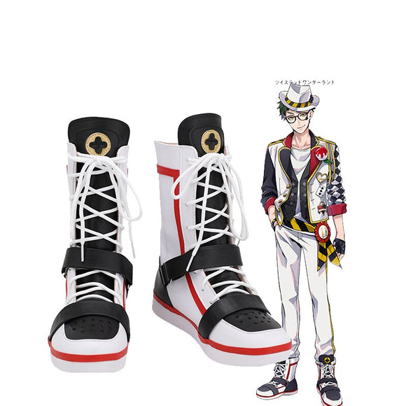 Disney Twisted-Wonderland Deuce Spade Cosplay Boots White Shoes