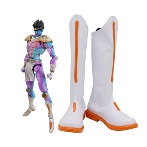 JOJO Star Platinum White Shoes Cosplay JoJo's Bizarre Adventure Star Platinum Cosplay Boots Leather Shoes Custom Made