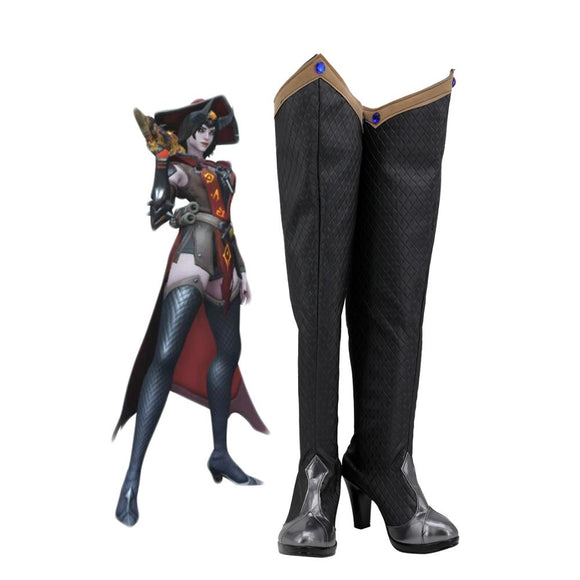 Overwatch Ashe Warlock Cosplay Boots Game OW Ashe Cosplay Shoes Overknee Boots Black High Heel Shoes