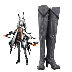 Arknights Frostnova Cosplay Boots Over Knee Shoes Frostnova Grey High Heel Boots Custom Made