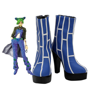 Jolyne Cujoh High Heel Shoes Cosplay JoJo's Bizarre Adventure Jolyne Cujoh Cosplay Boots Blue Shoes Custom Made