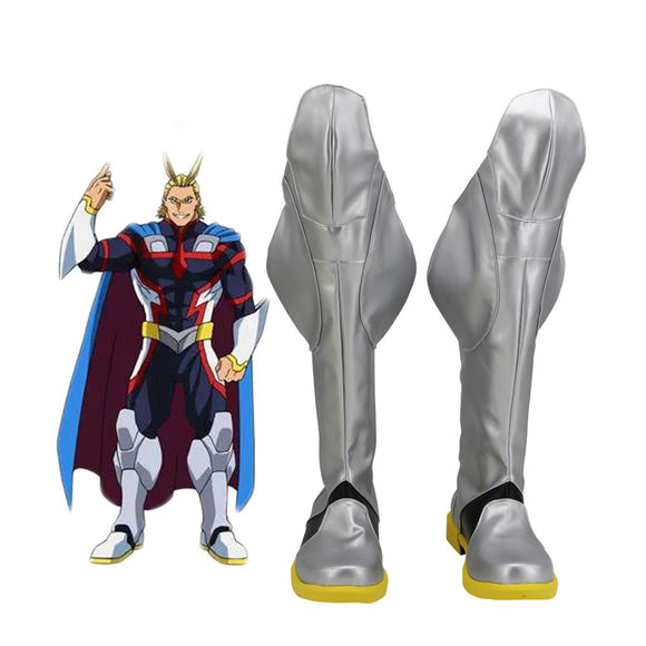 My Hero Academia Toshinori Yagi All Might Silver Cosplay Boots Leather Shoes Custom Made Any Size