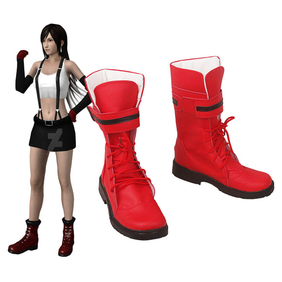 Final Fantasy 7 Tifa Lockhart Cosplay Boots Red Leather Shoes Custom Made