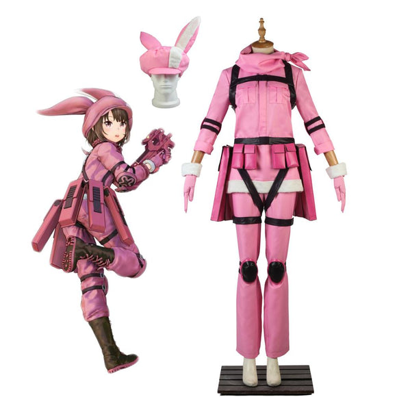 Sword Art Online GGO LLENN Cosplay Costume SAO Kohiruimaki Karen Pink Uniform Cosplay Custom Made