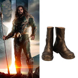 Aquaman Leather Boots Cosplay DC Superhero Arthur Curry Cosplay Boots Gold-colored Shoes Custom Made