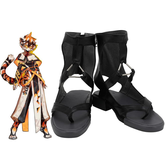 Arknights Waai Fu Cosplay Shoes Black Sandals Custom Made Any Size