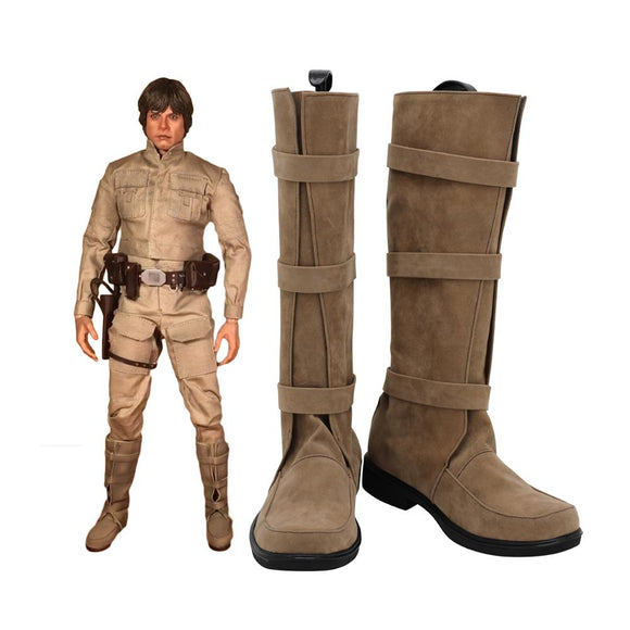 Luke Skywalker Shoes Cosplay Star Wars 5 Luke Cosplay Boots Leather Shoes Custom Made Any Size