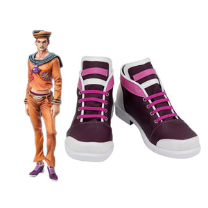 Josuke Higashikata Shoes Cosplay JoJo's Bizarre Adventure Josuke Higashikata Cosplay Boots Purple Shoes Custom Made
