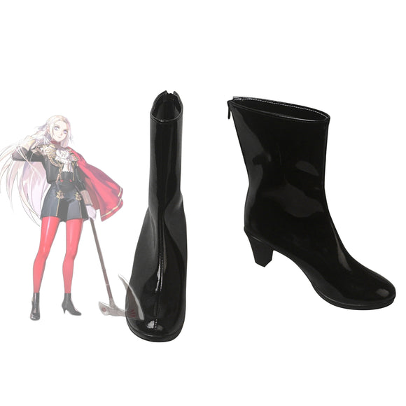 Fire Emblem Three Houses Edelgard Cosplay Boots Black Leather Shoes Customized High Heel Boots for Unisex