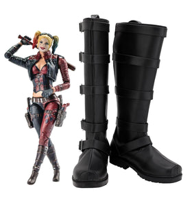 Injustice 2 Harley Quinn Cosplay Boots Black Shoes Custom Made for Halloween Party Cosplay Costume Accessories