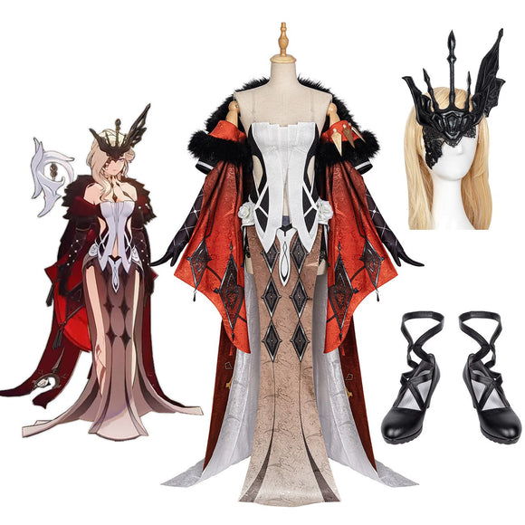 Genshin Impact Signora The Fair Lady Cosplay Costume Signora Dress Coat Mask Shoes Full Set Custom Made
