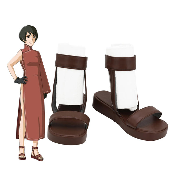 Naruto Tsuchikage Cosplay Sandals Brown Leather Shoes Custom Made Any Size