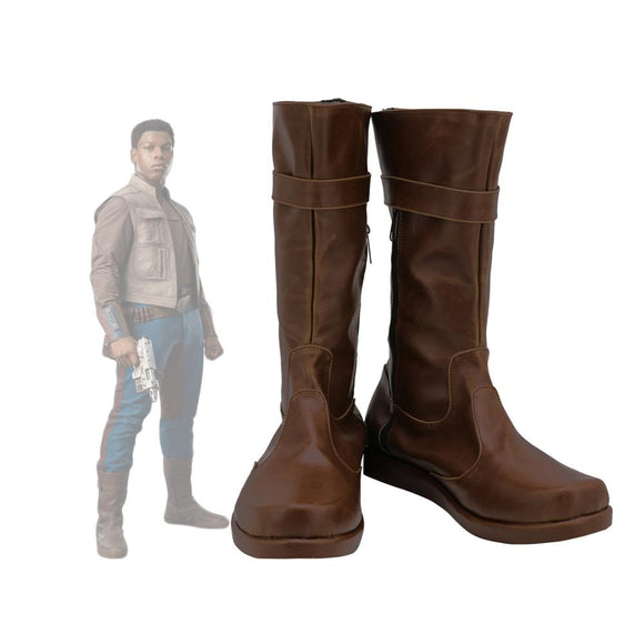 Star Wars 9 Finn Shoes Cosplay The Rise of Skywalker Finn Cosplay Boots Brown Leather Shoes Custom Made