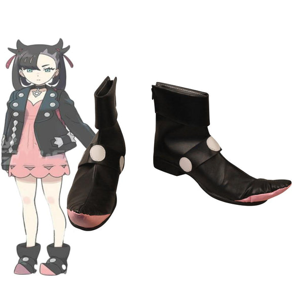 Pokemon Sword/Shield Mamie Cosplay Boots Black Shoes Custom Made