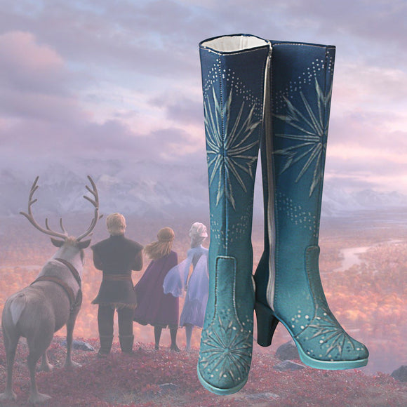 Frozen2 Snow Princess Elsa Cosplay Boots Ice Queen Elsa Customized High Heel Shoes