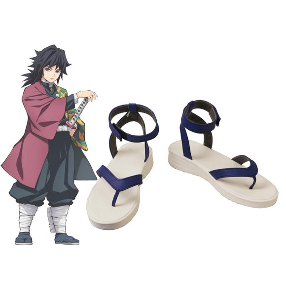 Kimetsu no Yaiba Giyu Tomioka Cosplay Sandals Shoes Demon Slayer Giyu Tomioka Leather Shoes Custom Made Any Size
