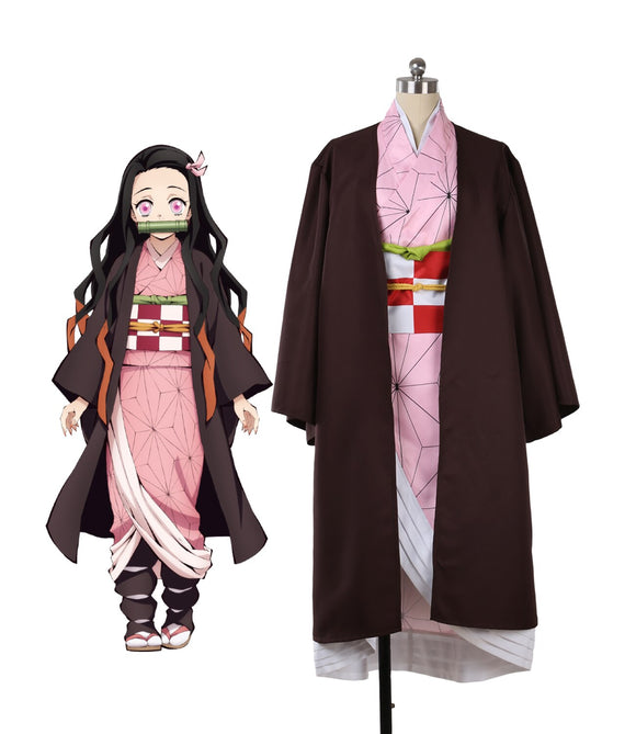 Demon Slayer Kimetsu no Yaiba Nezuko Kamado Kimono Cosplay Costume Custom Made Halloween Costume