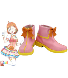 Love Live Takami Chika Cosplay Boots Pink Shoes Custom Made Any Size