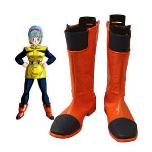 Dragon Ball Z Bulma Cosplay Boots Orange Shoes Custom Made Any Size for Unisex
