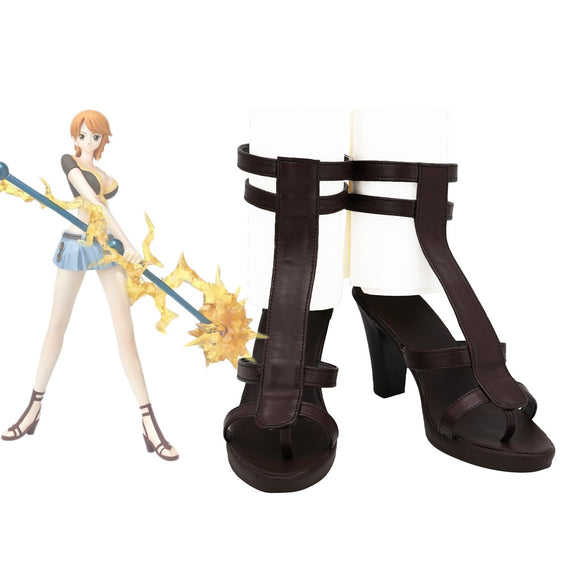 One Piece Nami Cosplay Sandals Brown High Heel Shoes Custom Made for Unisex