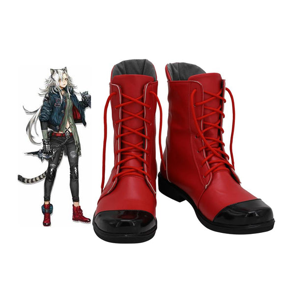 Arknights Indra Cosplay Boots Red Leather Shoes Custom Made