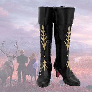 Customized Frozen 2 Princess Anna Cosplay Boots Black Leather Shoes for Girls and Boys Halloween Party Cosplay