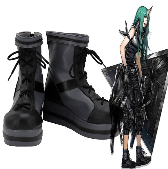 Game Arknights Hoshiguma Cosplay Boots Grey Leather Shoes