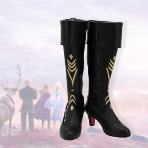 Frozen2 Princess Anna Cosplay Boots Black Shoes Customized High Heel Leather Boots