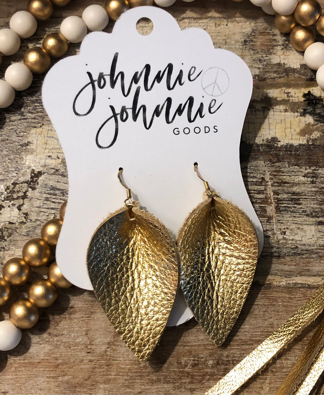 Gold Leather Leaf Earrings