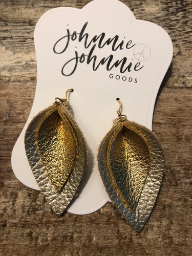 Champagne and Gold Double Layer Leather Leaf Earrings