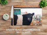 Belted Galloway glass chopping board - And that's how Belties are made - Kitchy & Co