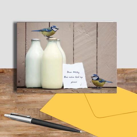 Bluetit greetings card - Goldtop - Kitchy & Co