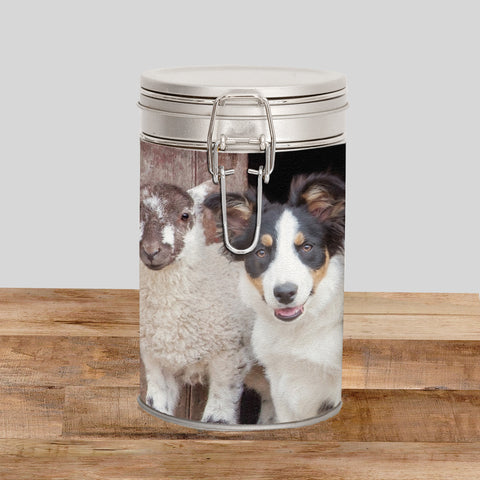 Border Collie & Lamb Storage Tin - If your name's not down you're not coming in - Kitchy & Co