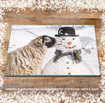 Christmas glass chopping board - Swaledale Sheep and Snowman - Kitchy & Co