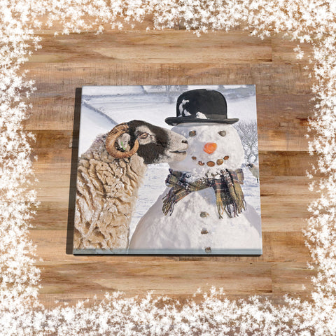 Christmas Glass drinks Coaster - Swaledale Sheep and Snowman - Kitchy & Co