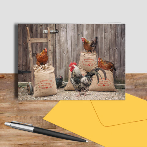 Hen greetings card - Clucking good corn - Kitchy & Co