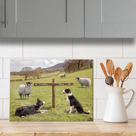 Sheepdog glass chopping board - Ewe take the left - Kitchy & Co
