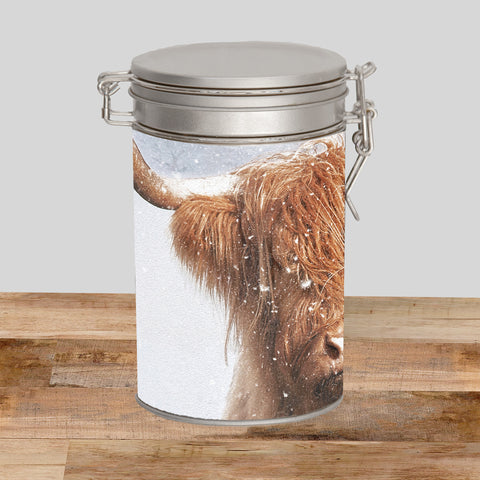 Highland cow Storage Tin - Winter coat - Kitchy & Co