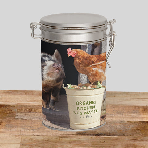 Pig & Hens Storage Tin - Bertie shares his lunch - Kitchy & Co