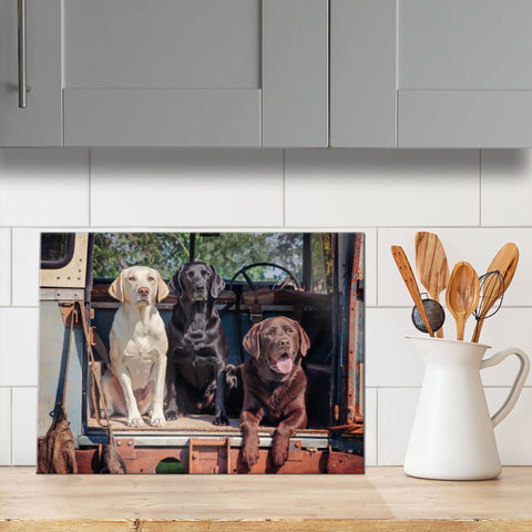 Labrador glass chopping board - Ready Willing and Able - Kitchy & Co