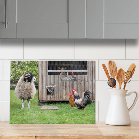 Swaledale Sheep glass chopping board - Ewe've got to be yolking - Kitchy & Co